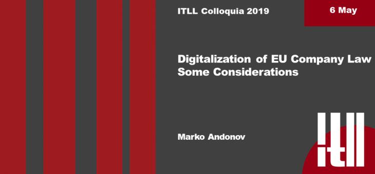 "6 MAY 2019 – ""DIGITALIZATION OF EU COMPANY LAW"""